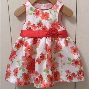 American Princess White and Coral Flowered Dress